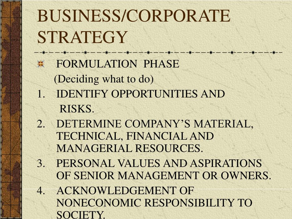 BUSINESS/CORPORATE STRATEGY