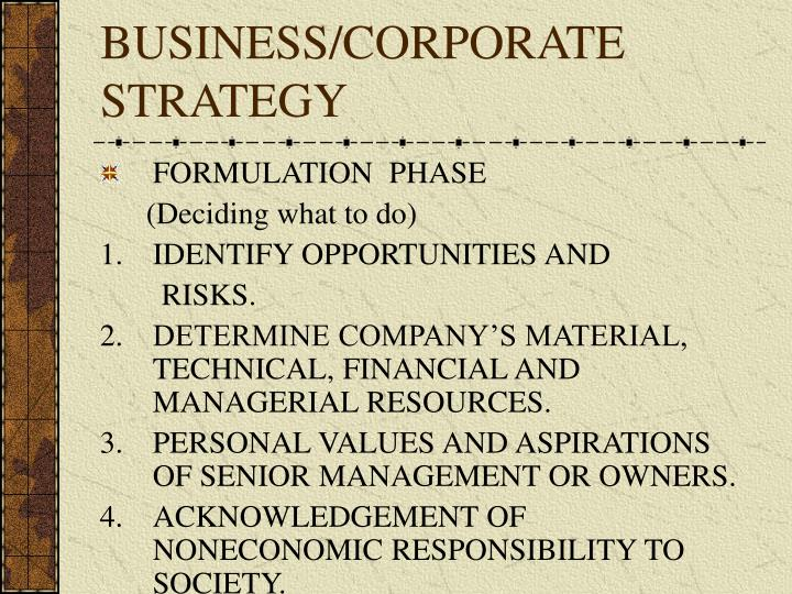 Business corporate strategy