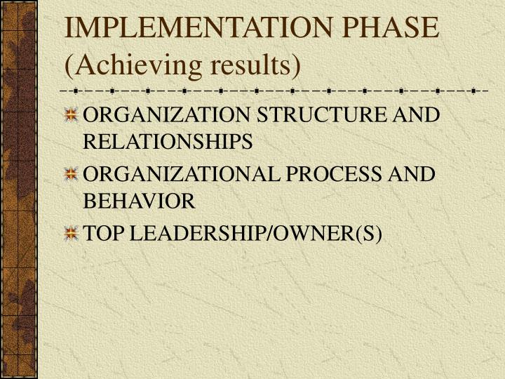 Implementation phase achieving results