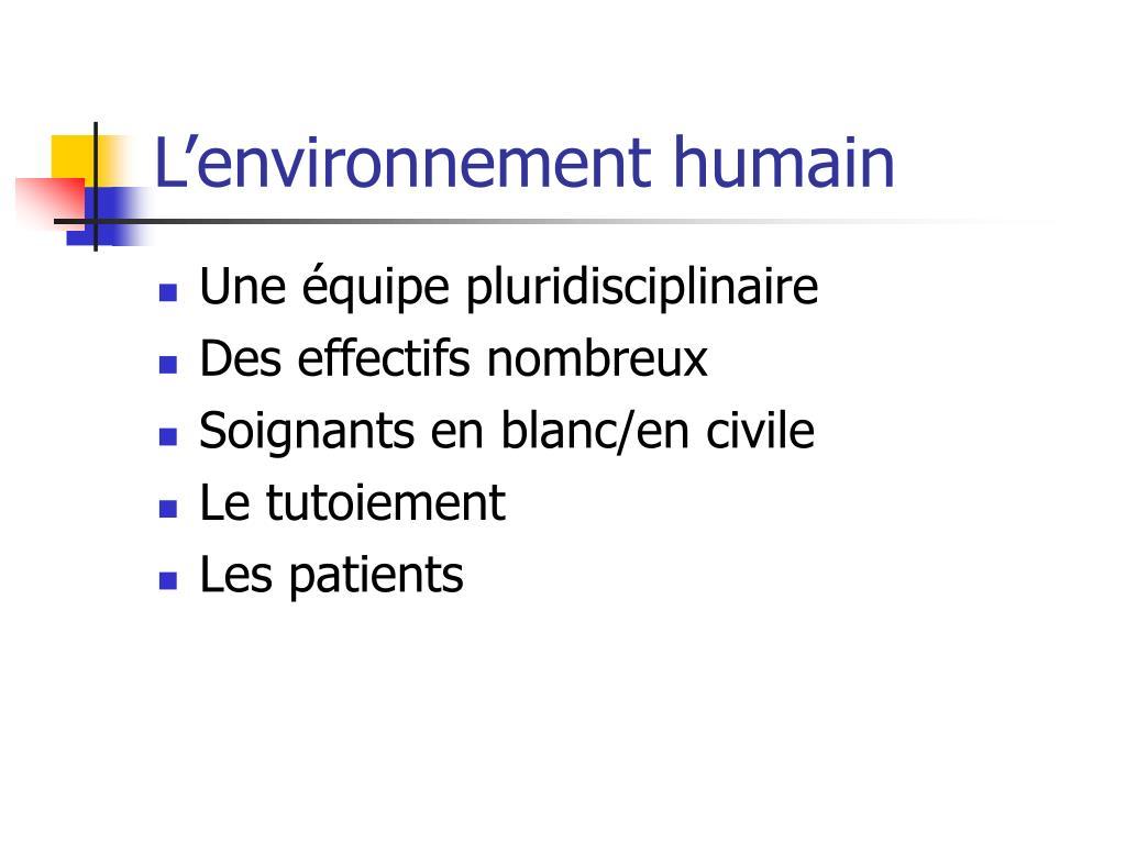 L'environnement humain