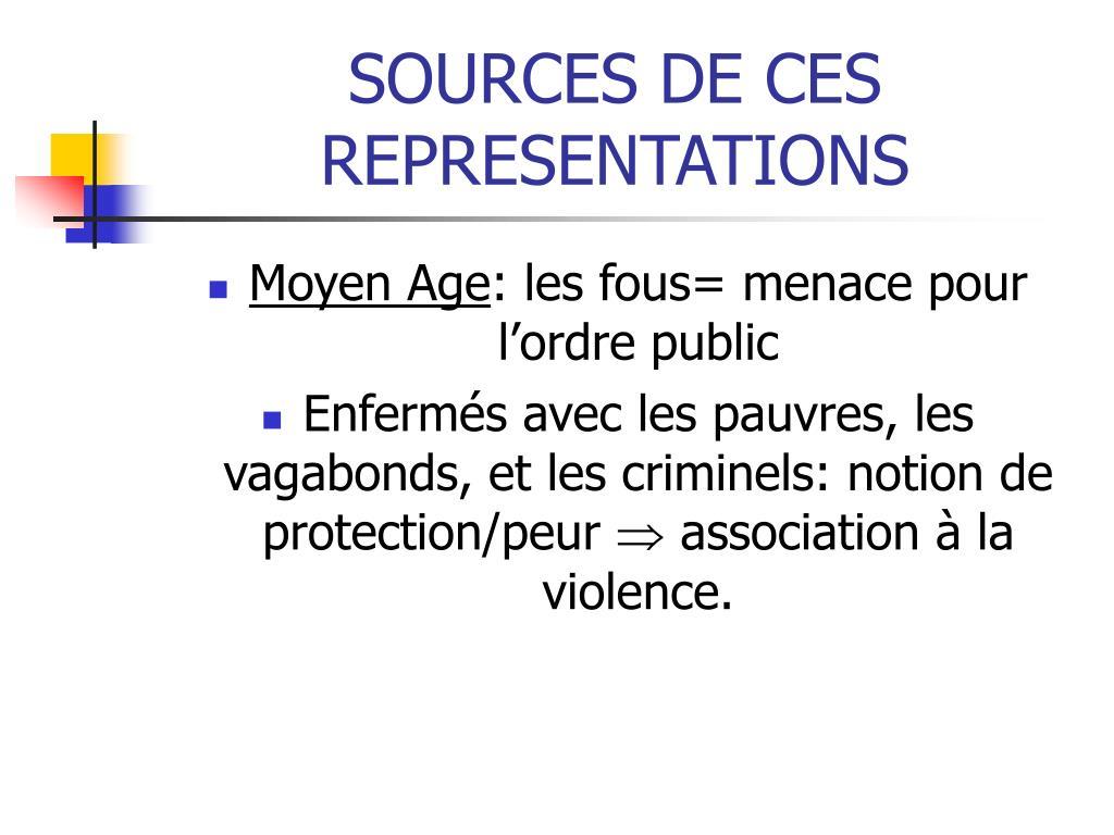 SOURCES DE CES REPRESENTATIONS