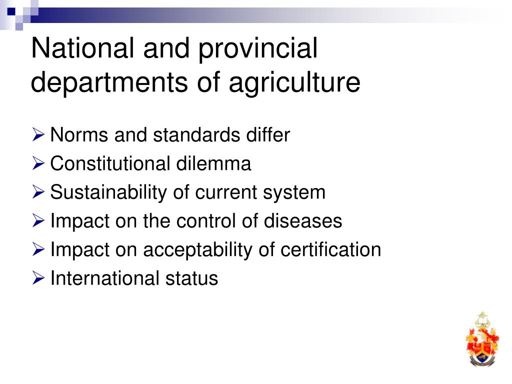 National and provincial departments of agriculture