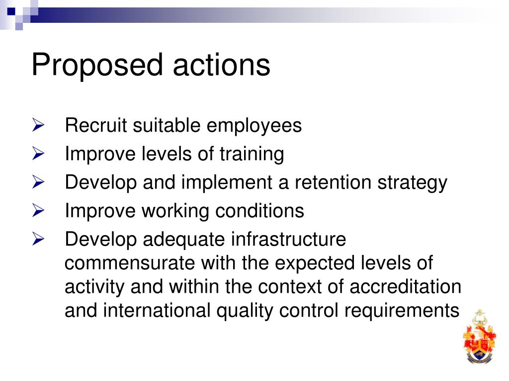 Proposed actions