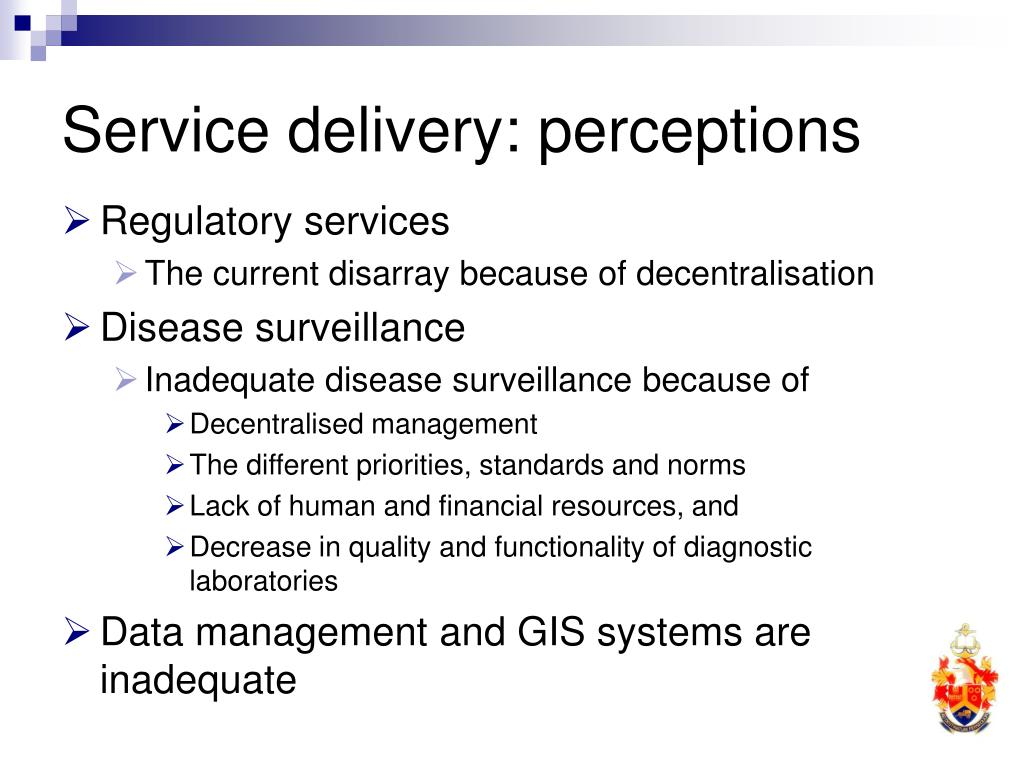 Service delivery: perceptions