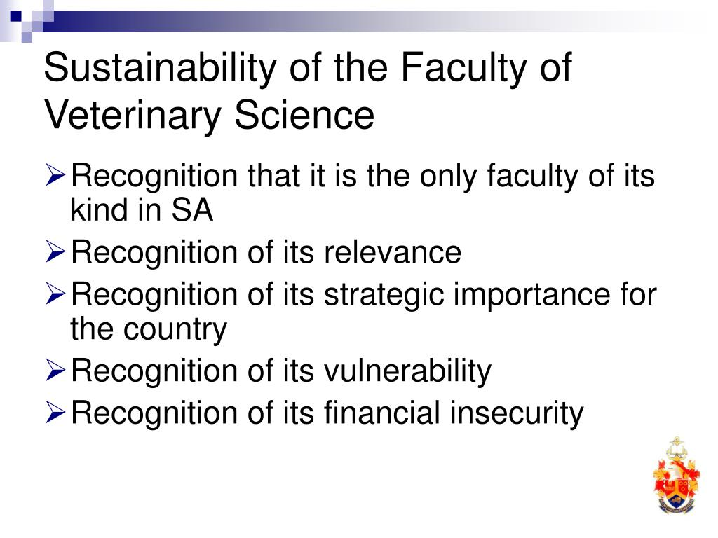 Sustainability of the Faculty of Veterinary Science