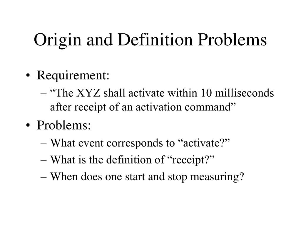 Origin and Definition Problems