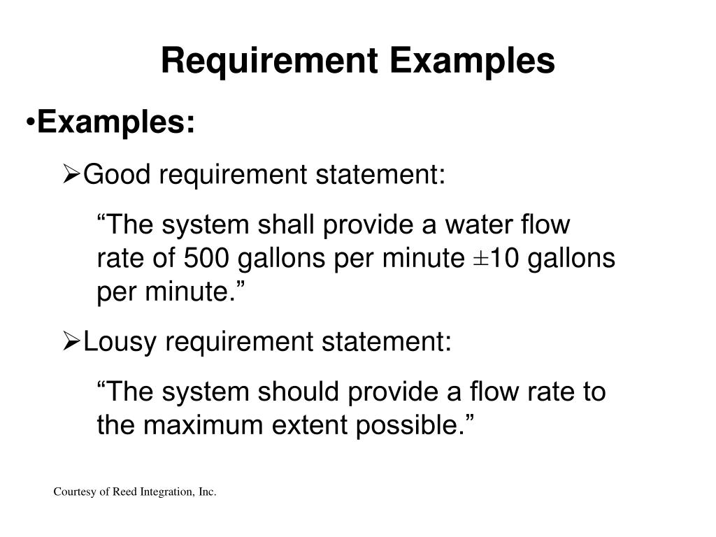 Requirement Examples