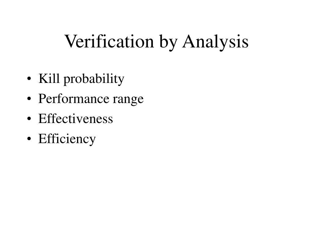 Verification by Analysis