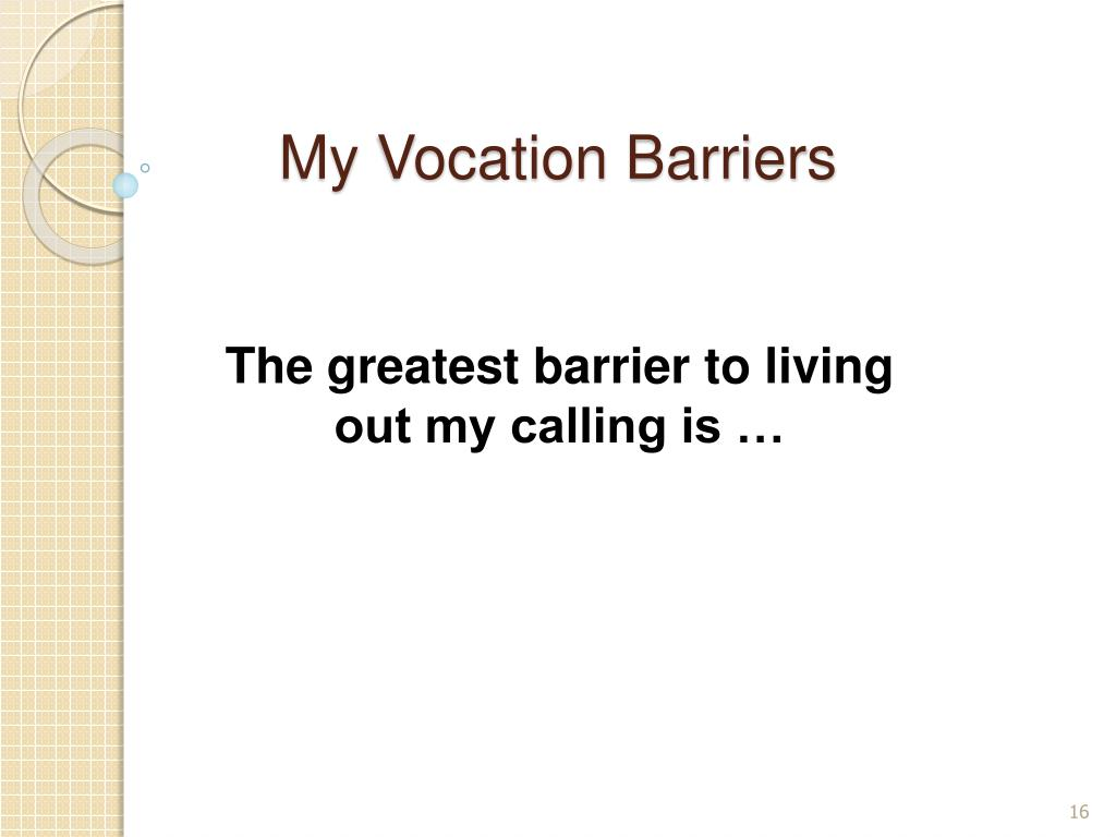My Vocation Barriers