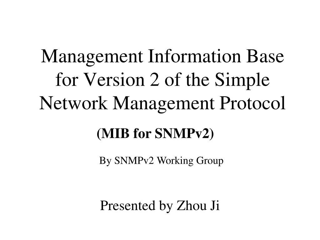 management information base for version 2 of the simple network management protocol l.