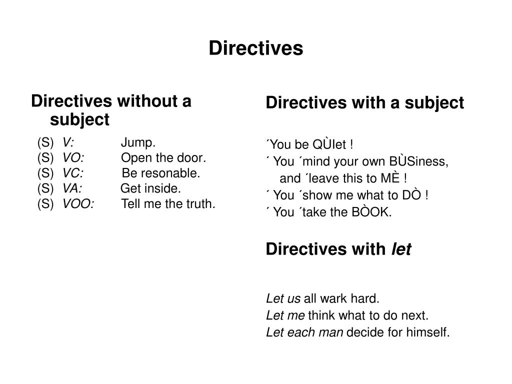 Directives without a subject