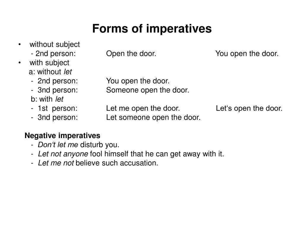 Forms of imperatives