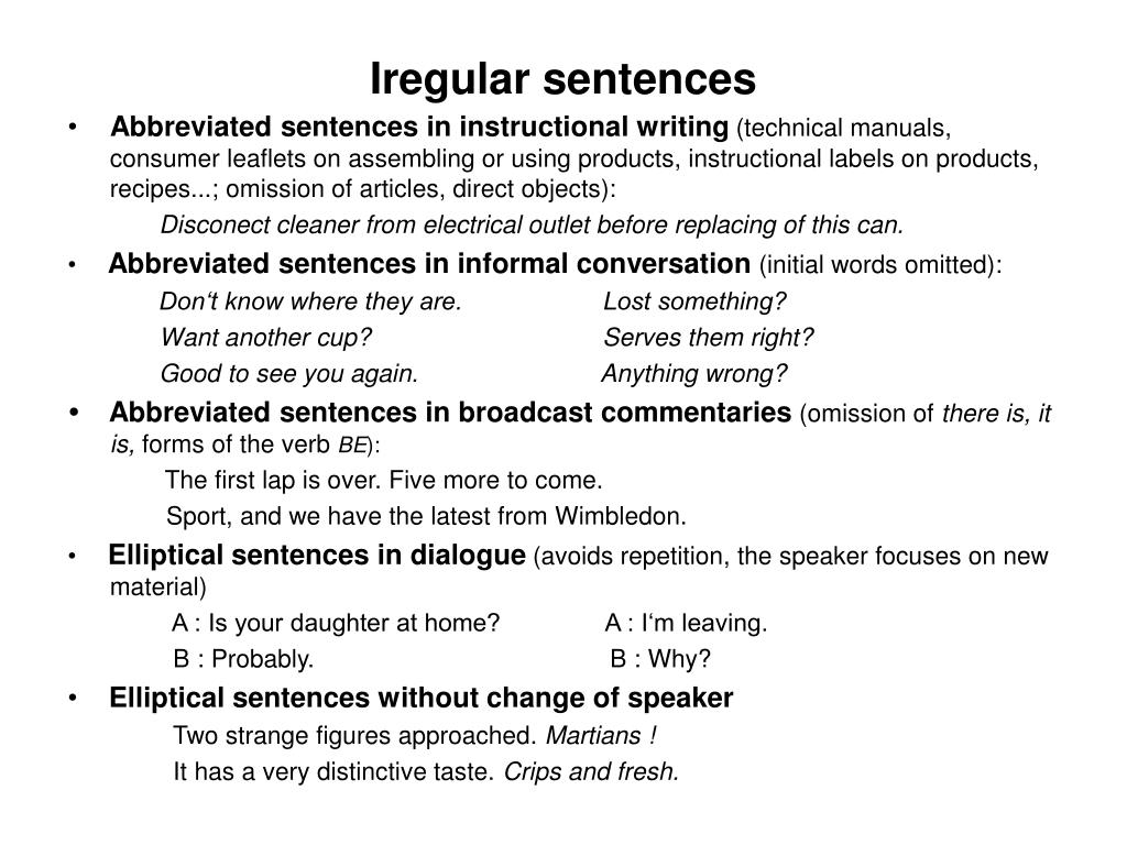 Iregular sentences
