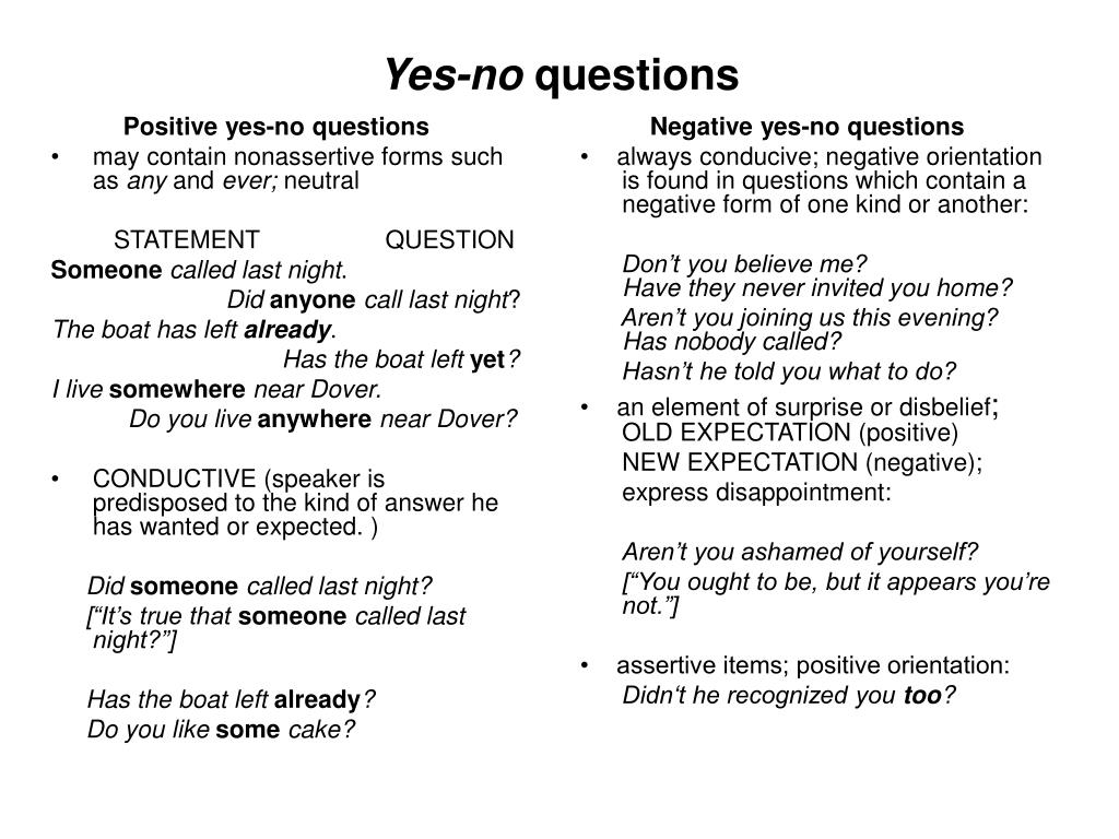 Positive yes-no questions
