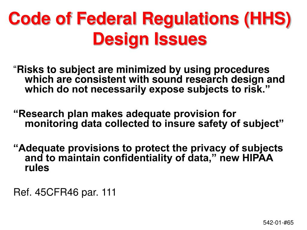 Code of Federal Regulations (HHS)