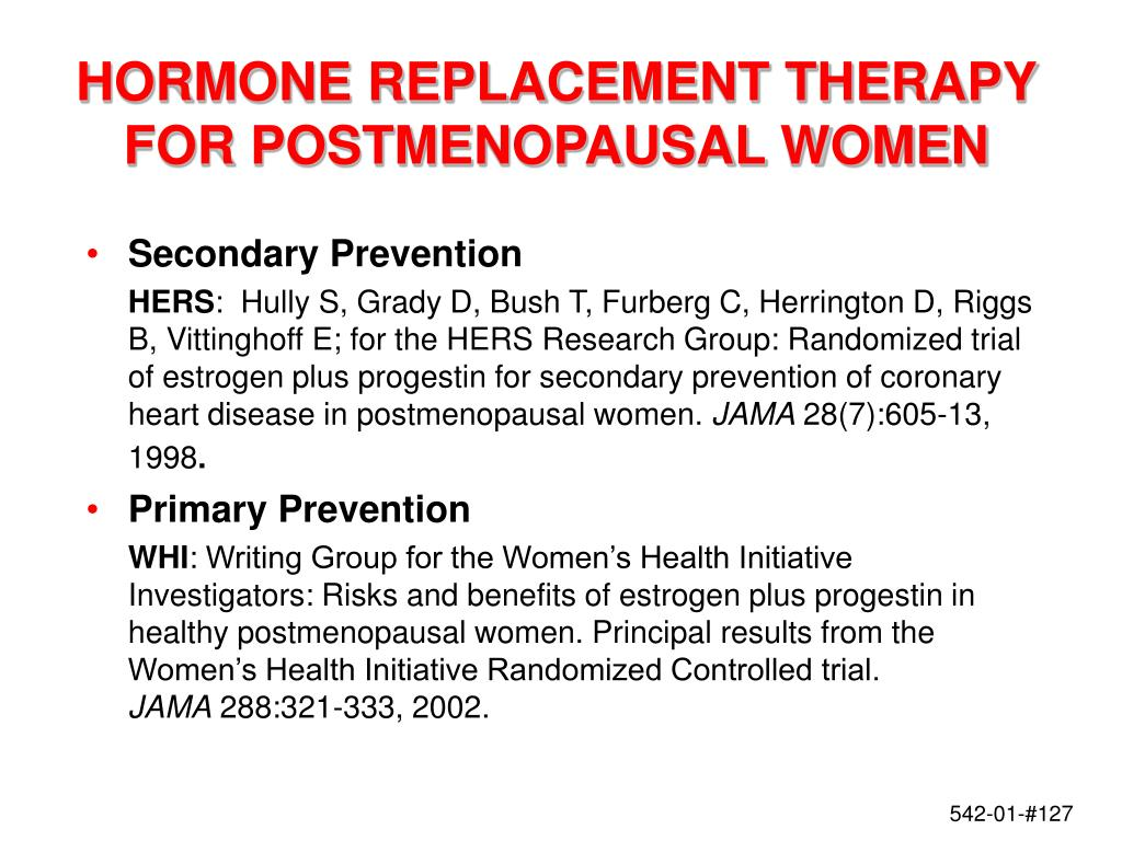 HORMONE REPLACEMENT THERAPY FOR POSTMENOPAUSAL WOMEN