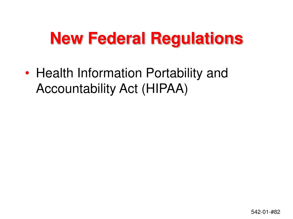 New Federal Regulations