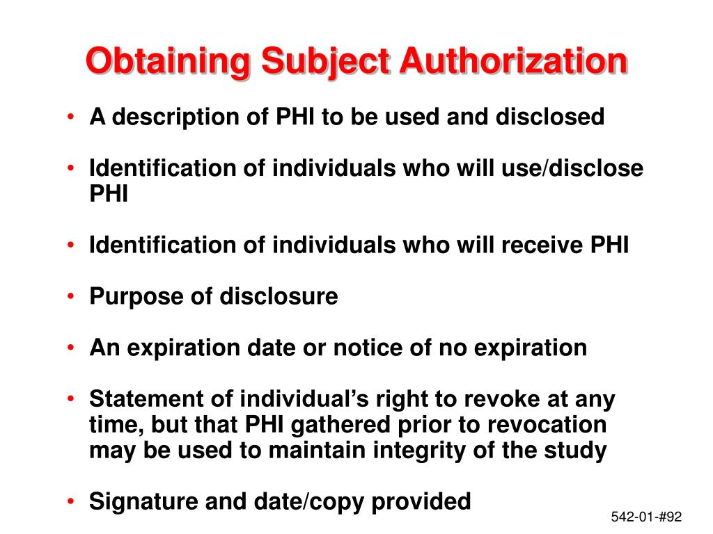 Obtaining Subject Authorization
