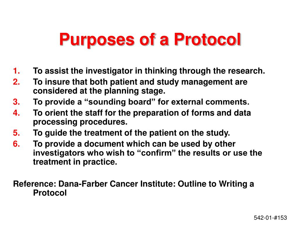 Purposes of a Protocol