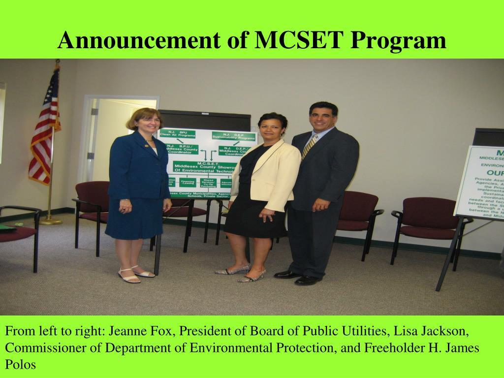 Announcement of MCSET Program