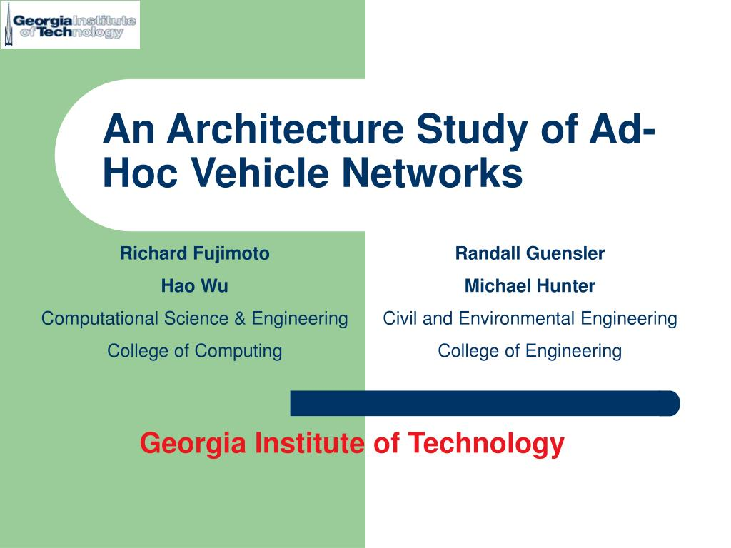 an architecture study of ad hoc vehicle networks l.
