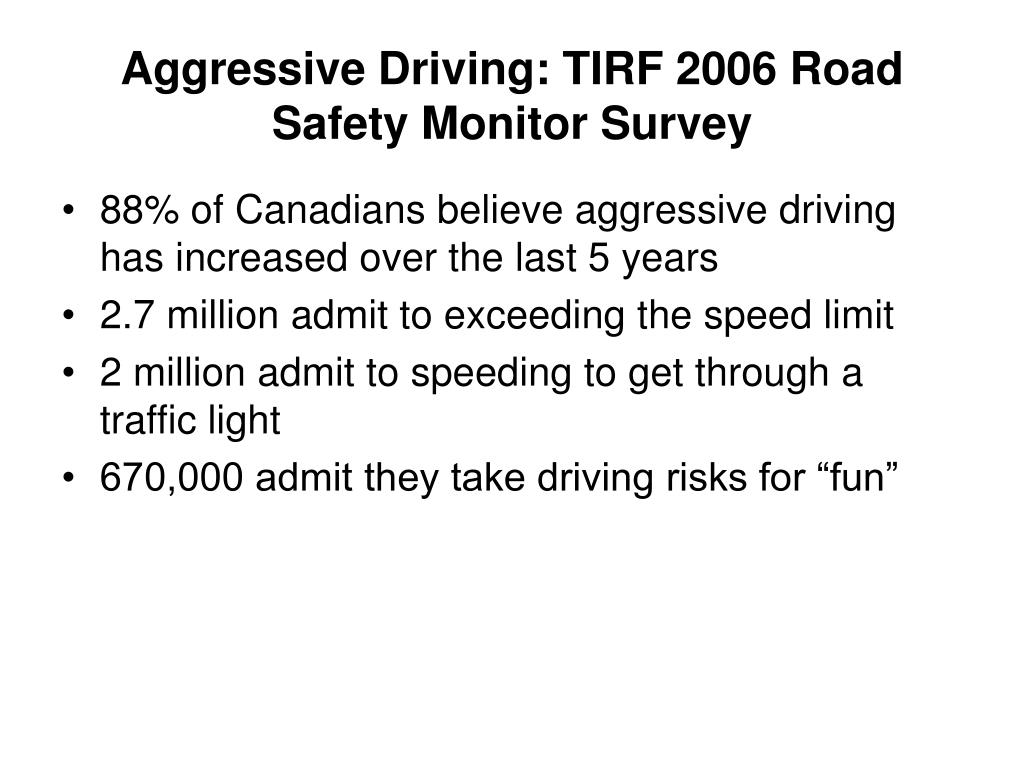 Aggressive Driving: TIRF 2006 Road Safety Monitor Survey