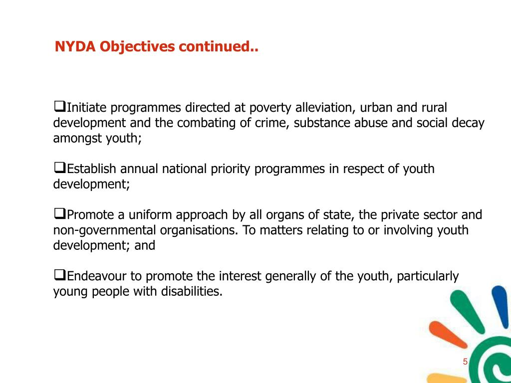 NYDA Objectives continued..