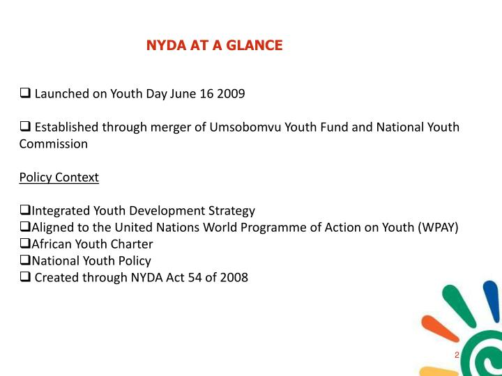 NYDA AT A GLANCE
