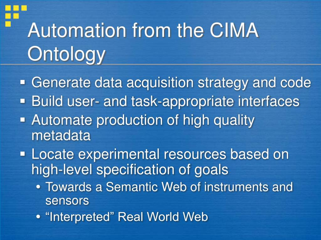 Automation from the CIMA Ontology