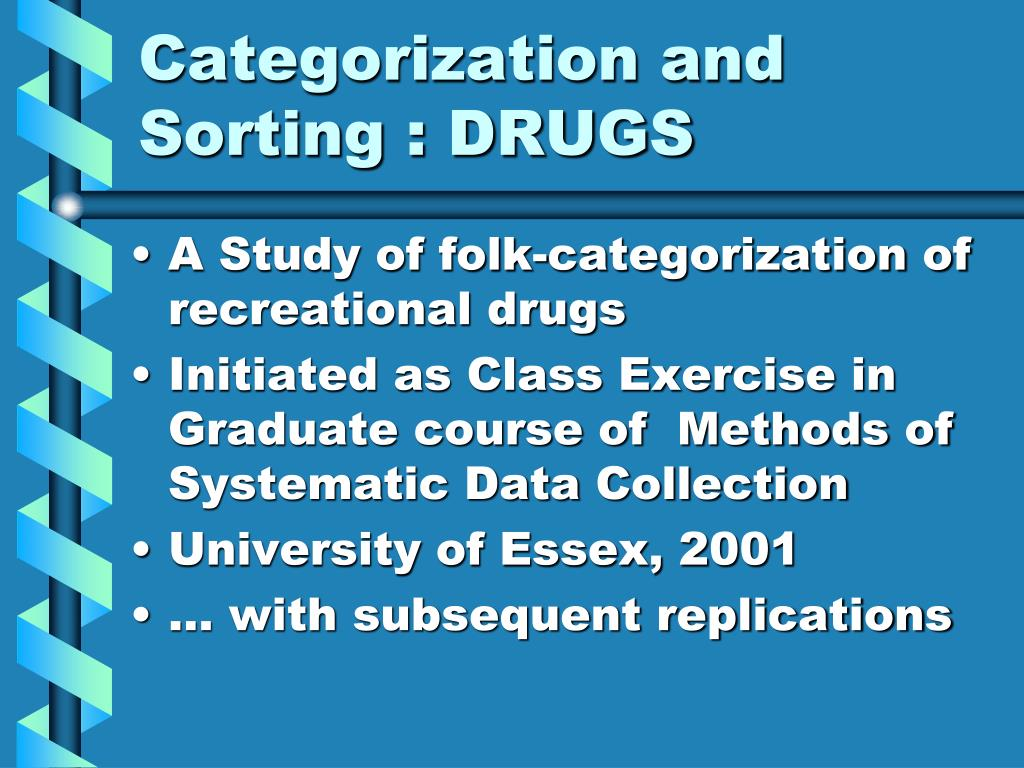 Categorization and Sorting : DRUGS