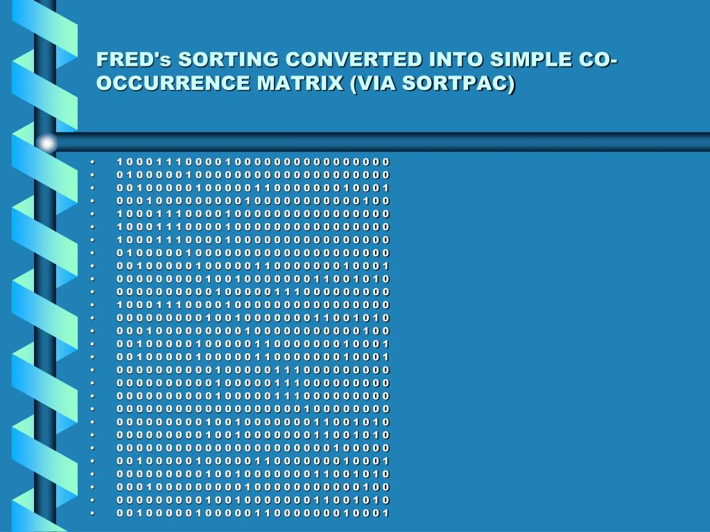 FRED's SORTING CONVERTED INTO SIMPLE CO-OCCURRENCE MATRIX (VIA SORTPAC)
