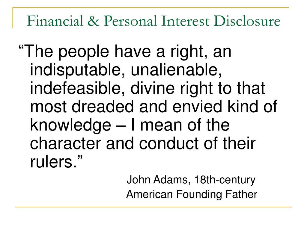 financial personal interest disclosure l.