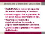 supply and demand for volunteers