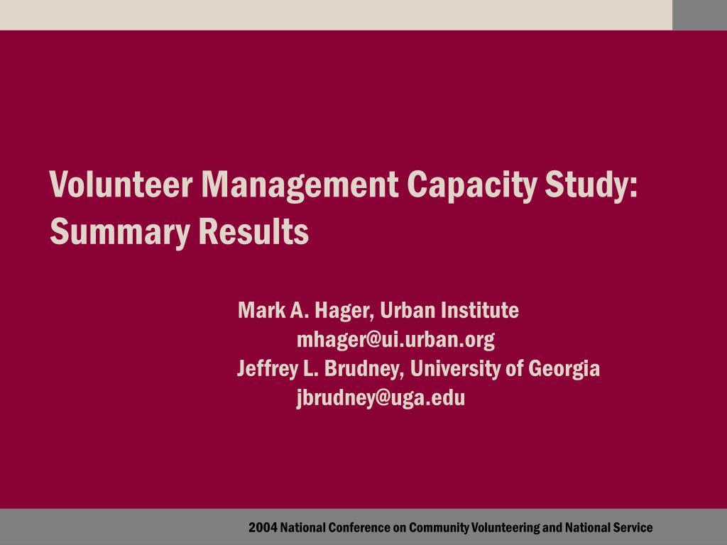 volunteer management capacity study summary results l.
