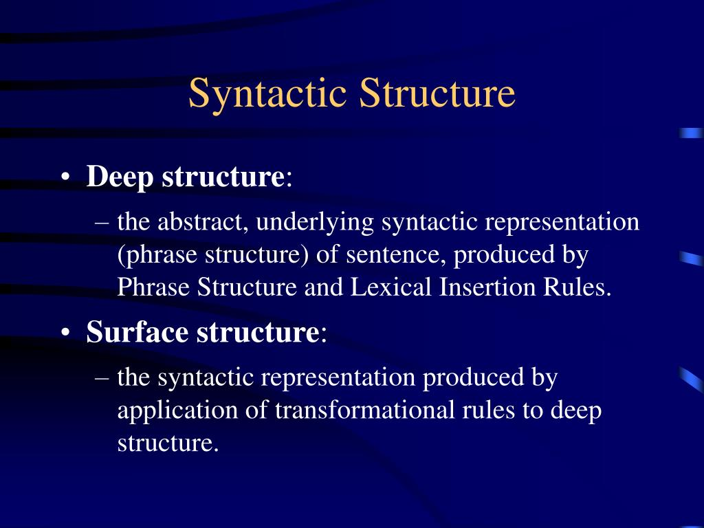 Syntactic Structure