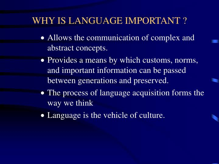 Why is language important