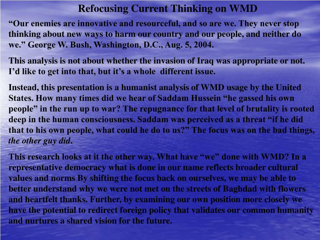 Refocusing Current Thinking on WMD