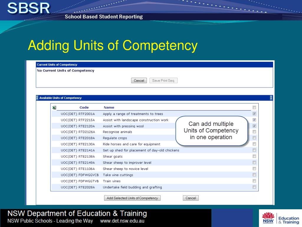 Adding Units of Competency