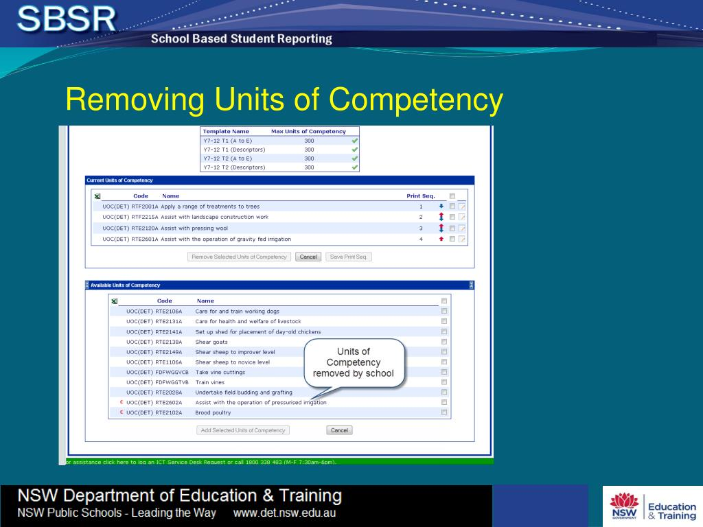 Removing Units of Competency