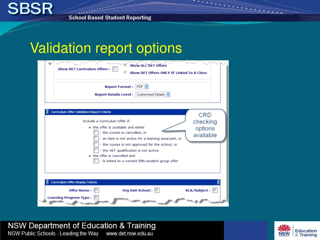 Validation report options