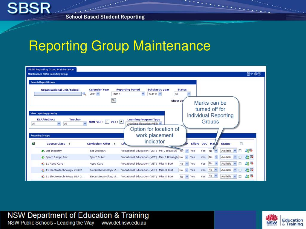 Reporting Group Maintenance