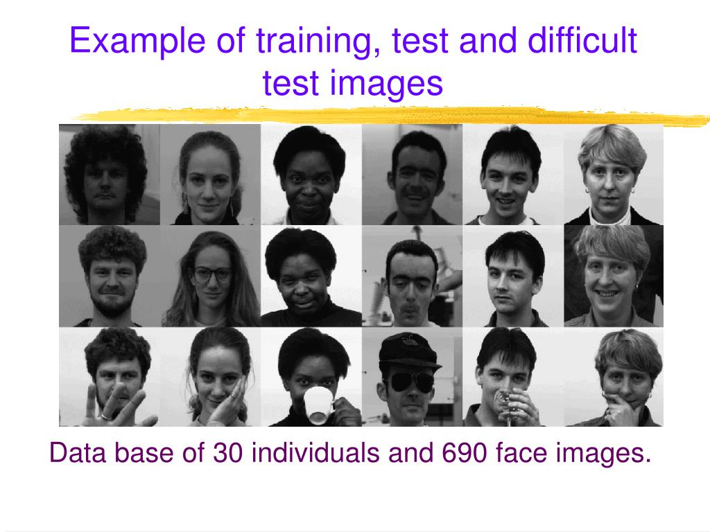 Example of training, test and difficult test images
