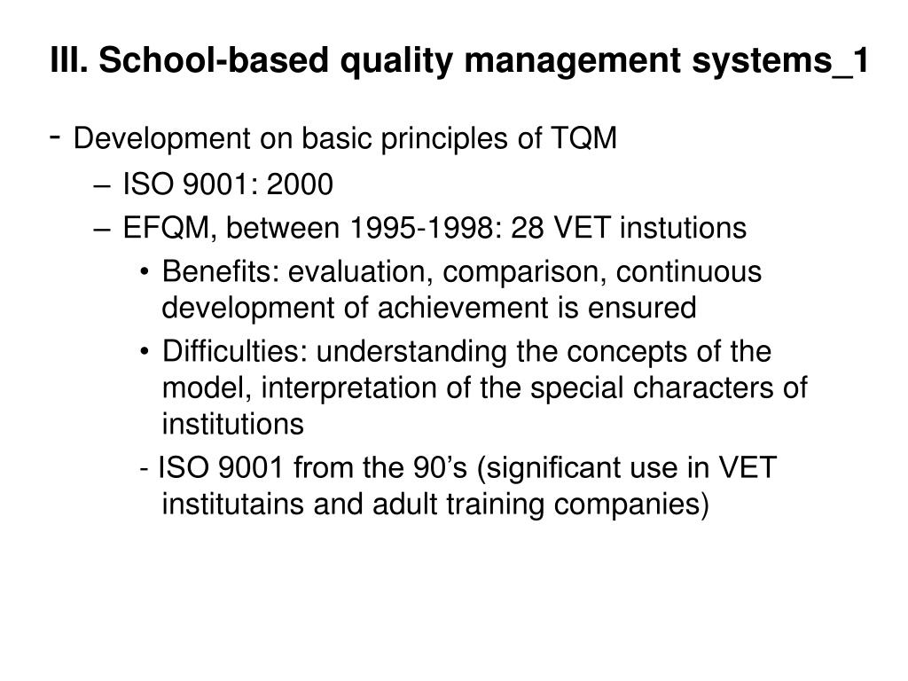 III. School-based quality management systems_1