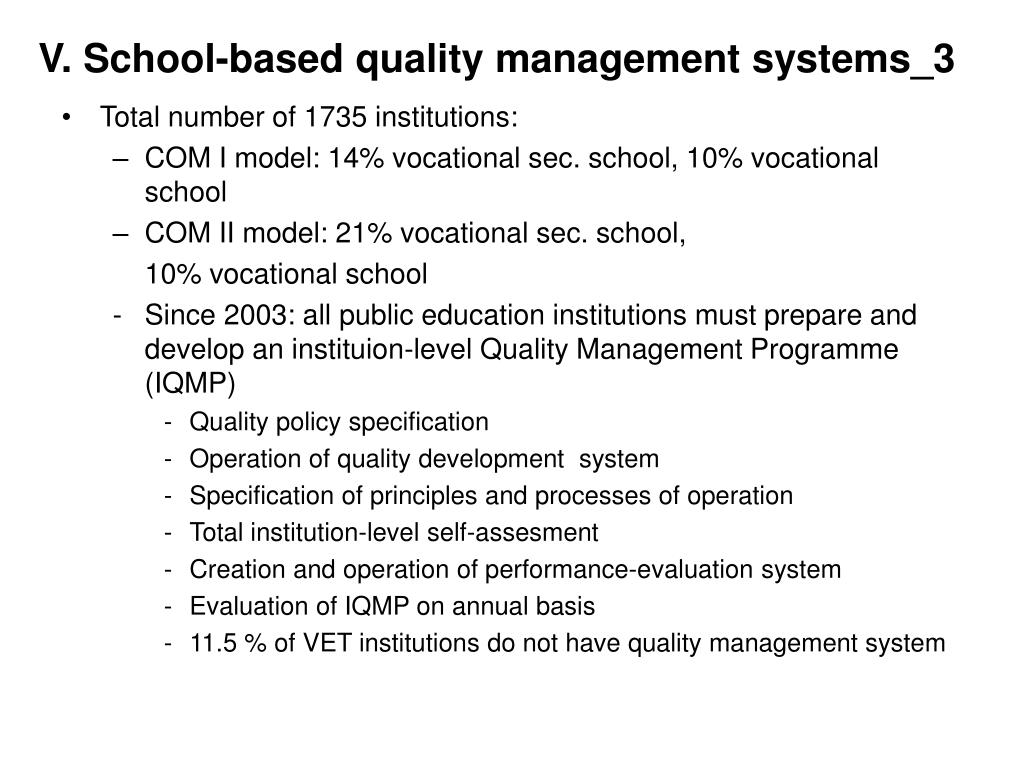 V. School-based quality management systems_3