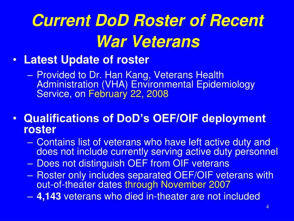 Current DoD Roster of Recent War Veterans