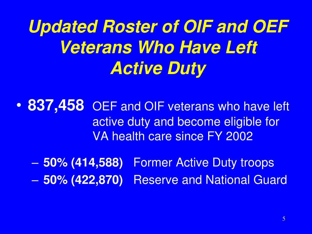 Updated Roster of OIF and OEF Veterans Who Have Left       Active Duty