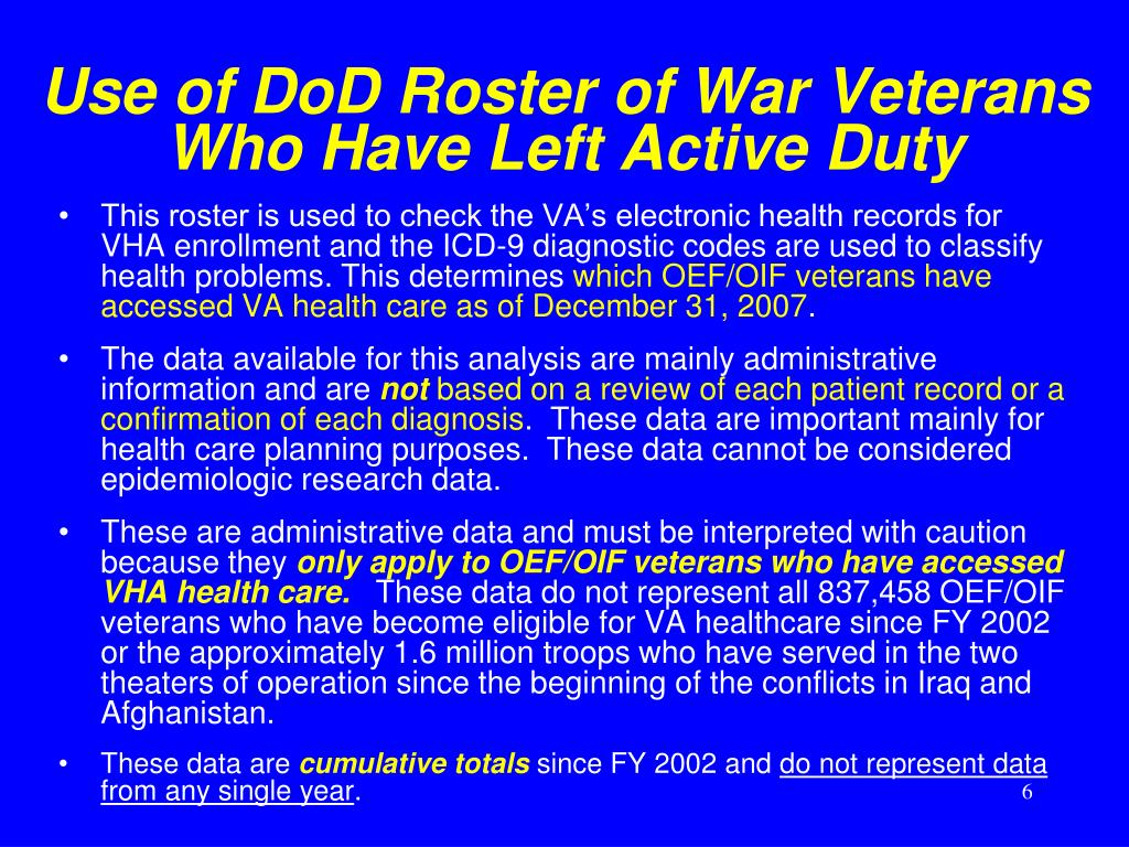Use of DoD Roster of War Veterans Who Have Left Active Duty