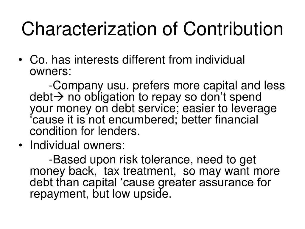 Characterization of Contribution