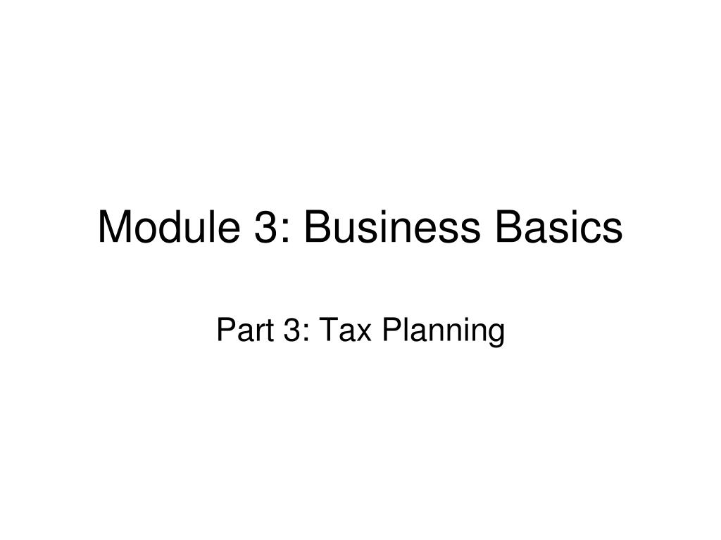 Module 3: Business Basics