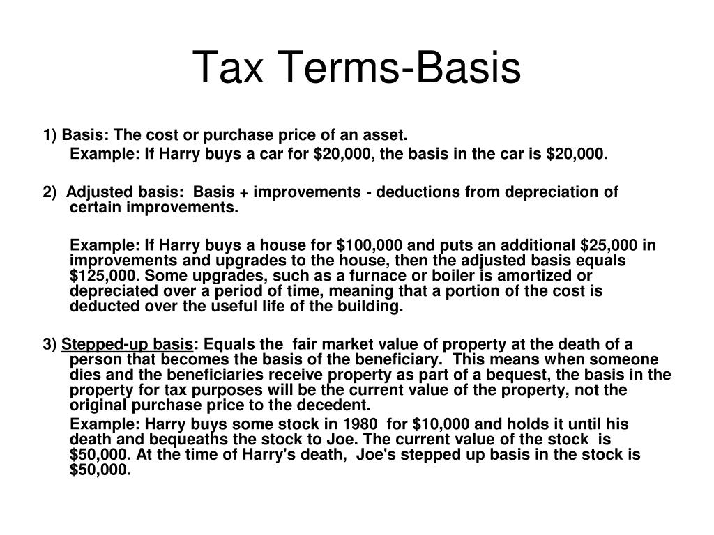 Tax Terms-Basis